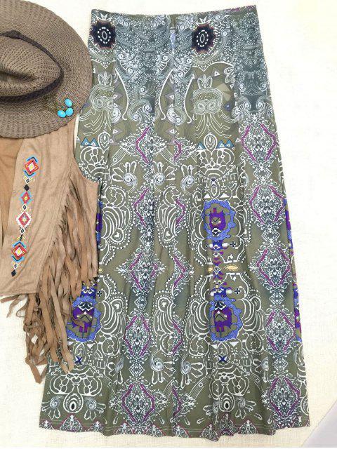 shop Bohemian Printed Long Skirt - GREEN XL Mobile