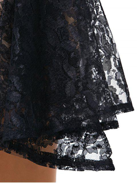 outfit Full Lace Round Neck Sleeveless Dress - BLACK M Mobile