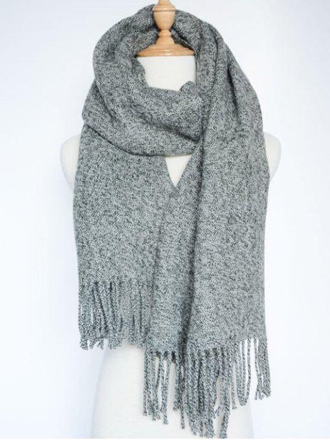 women Tassel Knitted Wrap Scarf - GRAY  Mobile