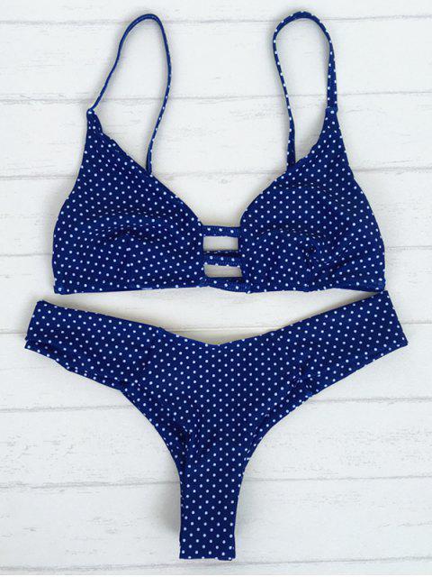 fancy Polka Dot Strappy Bikini Set - BLUE M Mobile