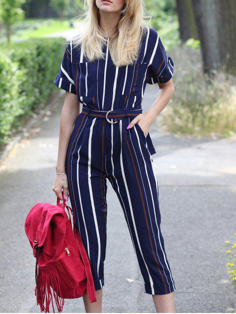 shops Striped Round Neck Short Sleeve Jumpsuit - STRIPE S Mobile