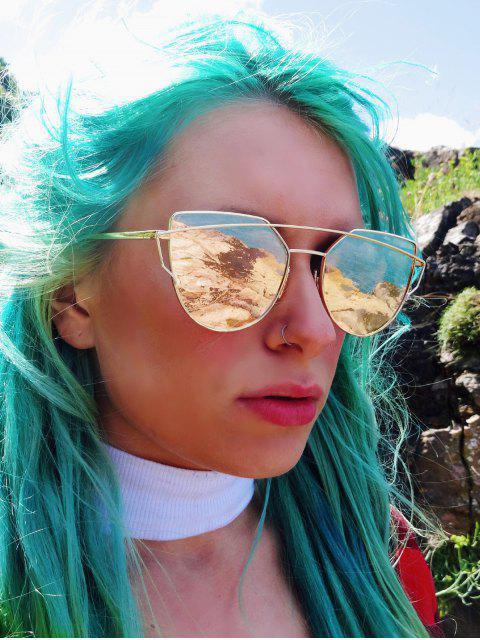 online Golden Metal Bar Frame Aviator Sunglasses - GOLDEN  Mobile