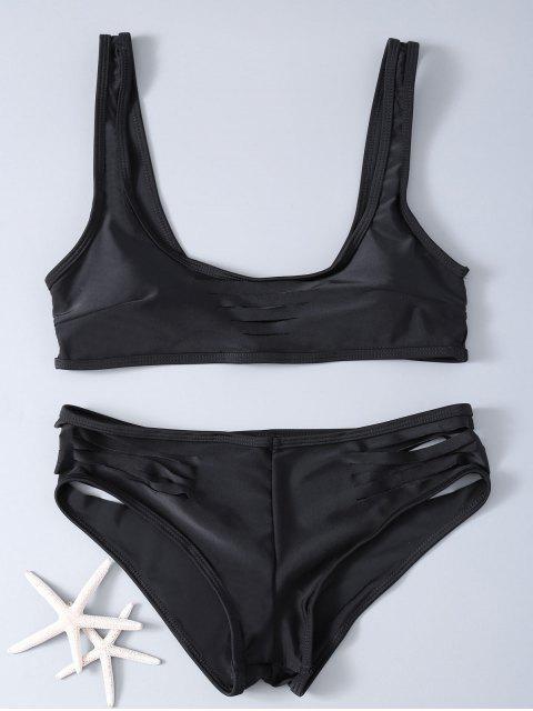 Évider Solid Color Bikini - Noir M Mobile