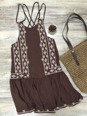 Embroidered Crisscross Strap Dress - Coffee M