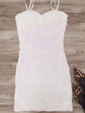 Mini Robe Moulante à Bretelles Et Décorée En Paillettes - Blanc
