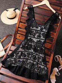 فستان سهرة بالمتن المكشوف  - أسود L