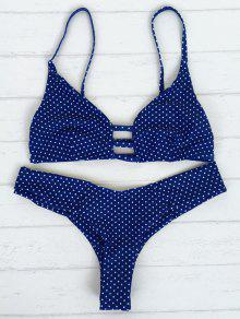 Polka Dot Strappy Bikini Set - Blue M