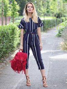 fd54d69e7cab 20% OFF  2019 Striped Round Neck Short Sleeve Jumpsuit In STRIPE