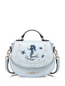 حورية البحر مطرزة حقيبة كروسبودي - الضوء الأزرق