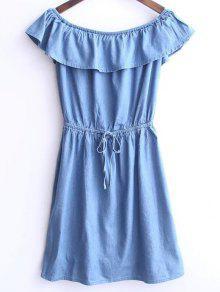 Buy Solid Color Boat Neck Drawstring Dress - LIGHT BLUE M