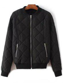 Argyle Stand Neck Solid Color Jacket - Black L