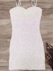 Mini Slip Sequins Dress - White