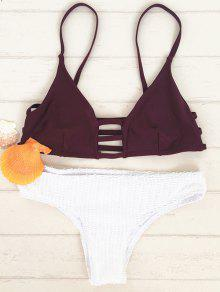 Two Tone Bikini Set With Ladder Detail - Red With White L