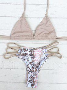 Snake Print Stringy Bikini Set (Random Print) - Khaki S