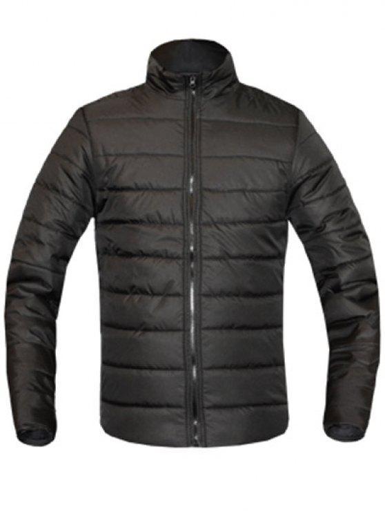 معطف للرجال لون خالص زمم يصل موقف ذوي الياقات كم طويل مبطن - أسود 2XL