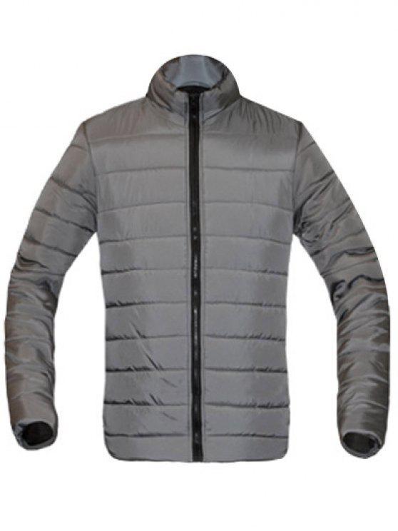 معطف للرجال لون خالص زمم يصل موقف ذوي الياقات كم طويل مبطن - اللون الرمادي M