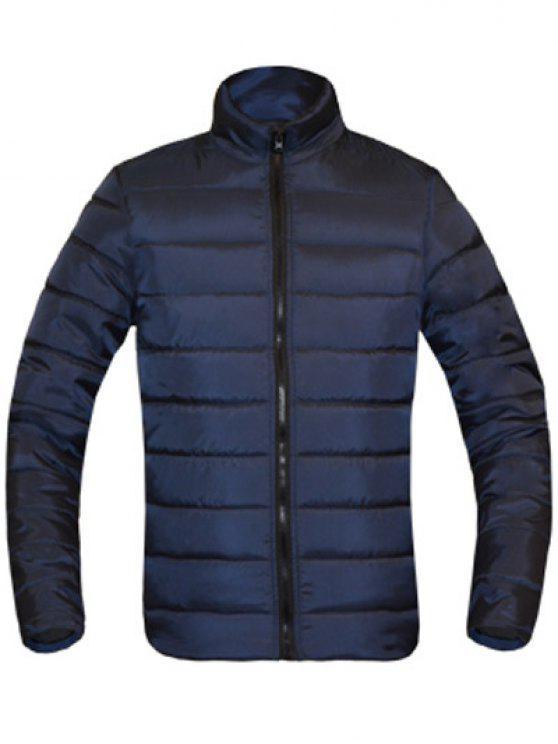 معطف للرجال لون خالص زمم يصل موقف ذوي الياقات كم طويل مبطن - طالبا الأزرق L