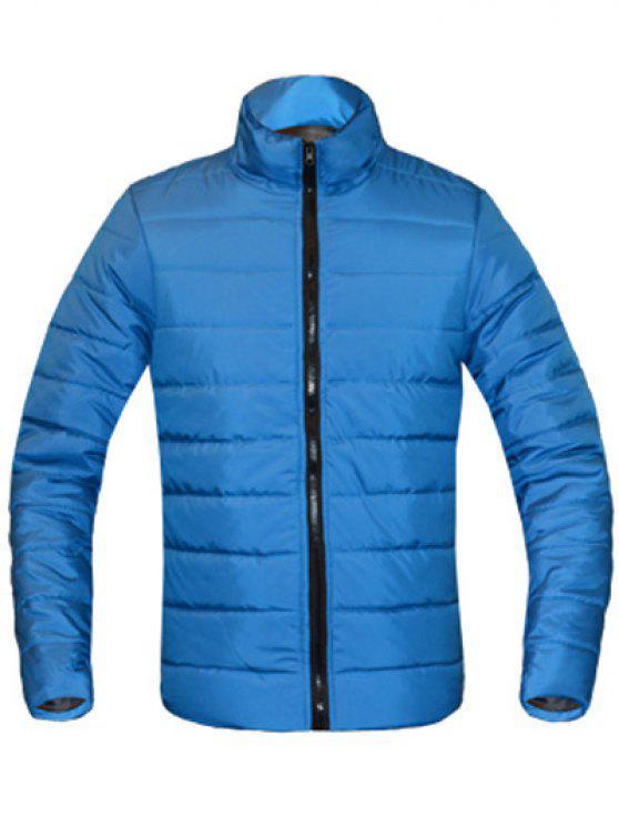 معطف للرجال لون خالص زمم يصل موقف ذوي الياقات كم طويل مبطن - البحيرة الزرقاء XL