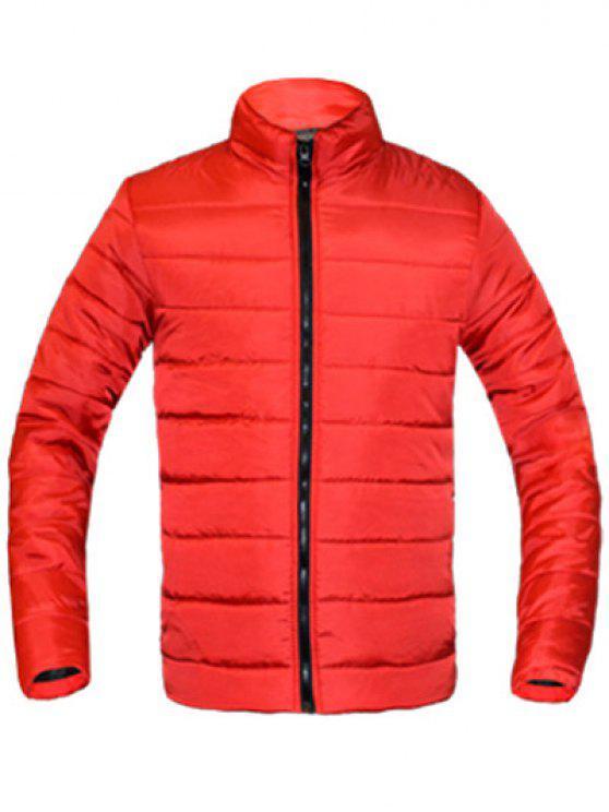 معطف للرجال لون خالص زمم يصل موقف ذوي الياقات كم طويل مبطن - أحمر XL