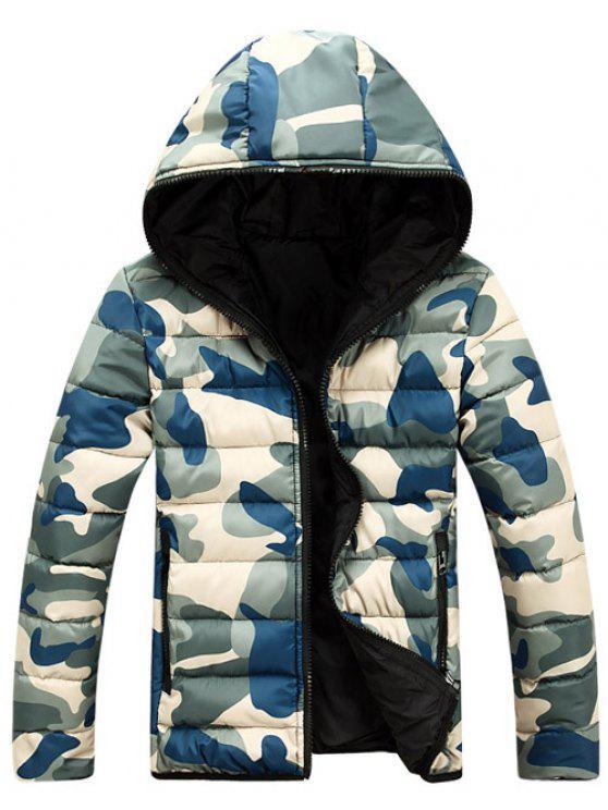 كامو سستة مزدوجة الوجهين ارتداء مقنعين مبطن معطف للرجال - أزرق 3XL