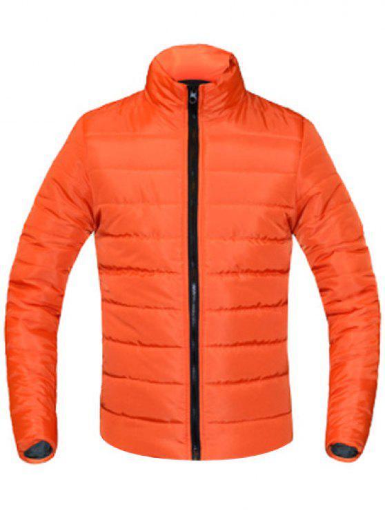 معطف للرجال لون خالص زمم يصل موقف ذوي الياقات كم طويل مبطن - البرتقالي XL
