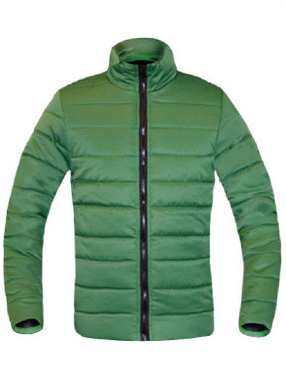 معطف للرجال لون خالص زمم يصل موقف ذوي الياقات كم طويل مبطن - أخضر XL