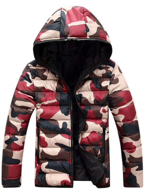 unique Camo Zip Up Double Sided Wear Hooded Padded Coat For Men - RED 2XL