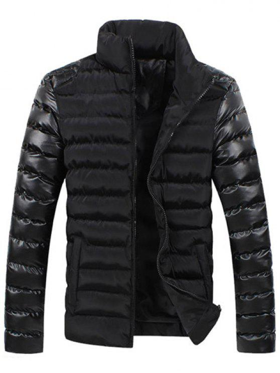 new Leather Spliced Zippered Long Sleeve Stand Collar Down Coat For Men - BLACK 2XL