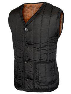 Plush Inside Pocket Button Up Collarless Vest For Men - Black 2xl