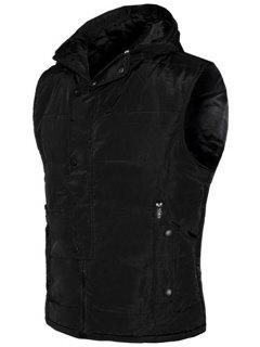 Snap Button Design Zip Up Hooded Padded Waistcoat For Men - Black L