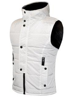 Snap Button Design Zip Up Hooded Padded Waistcoat For Men - White L