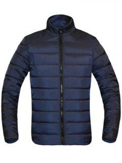 Solid Color Zip Up Stand Collar Long Sleeve Padded Coat For Men - Cadetblue M