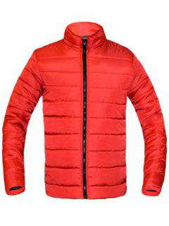 Solid Color Zip Up Stehkragen Langarm Padded Mantel Für Männer - Rot M