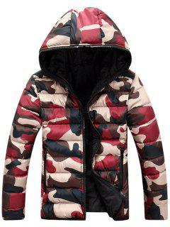 Camo Zip Up Double Sided Wear Hooded Padded Coat For Men - Red L