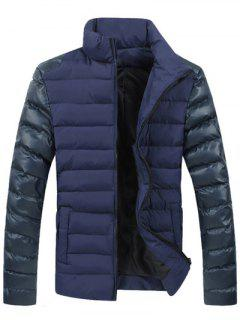 Leather Spliced Zippered Long Sleeve Stand Collar Down Coat For Men - Blue M