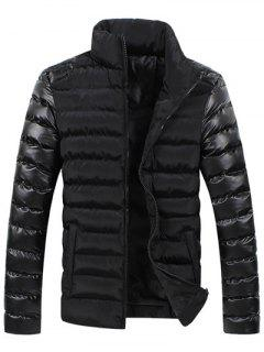 Leather Spliced Zippered Long Sleeve Stand Collar Down Coat For Men - Black M