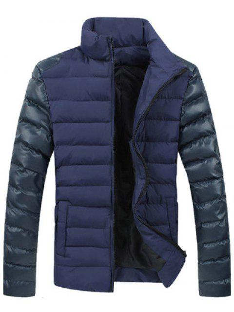 ladies Leather Spliced Zippered Long Sleeve Stand Collar Down Coat For Men - BLUE L Mobile