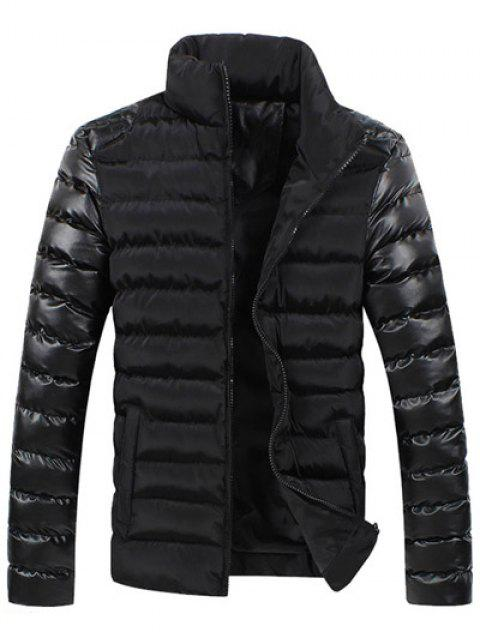new Leather Spliced Zippered Long Sleeve Stand Collar Down Coat For Men - BLACK 2XL Mobile