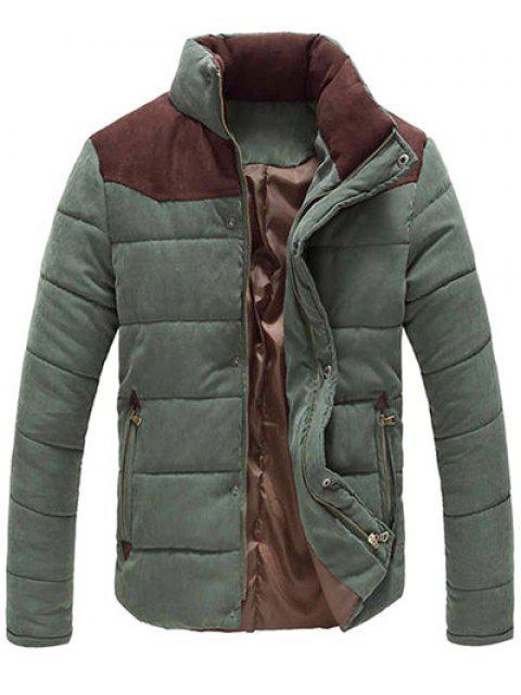 Manteau Matelassé avec Blocs de Couleur à Fermeture Éclair et Boutons de Pression Col Montant pour Hommes - Vert Armée  XL Mobile