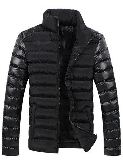 Leather Spliced Zippered Long Sleeve Stand Collar Down Coat For Men