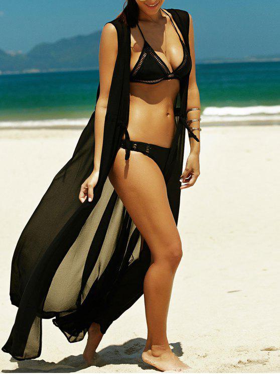 trendy Sleeveless Drawstring Beach Maxi Dress - BLACK M
