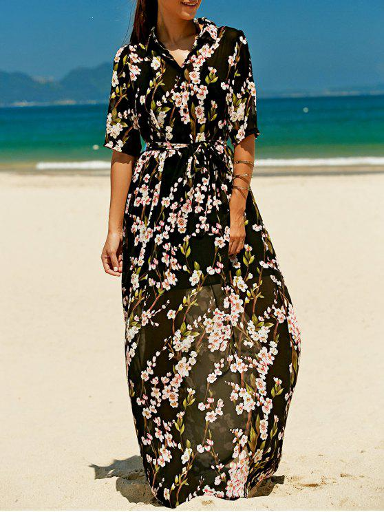 hot Floral Buttoned Maxi Holiday Shirt Dress - BLACK L