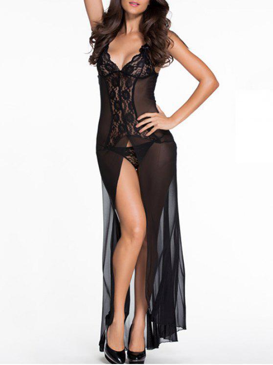 new Lace Splice Cami High Slit Maxi Dress - BLACK M