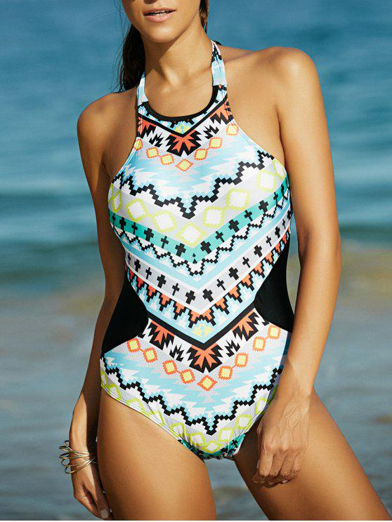 fancy High Neck Geometric Pattern One Piece Tummy Control Swimsuit - COLORMIX XL