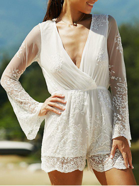 buy Full Lace Plunging Neck Long Sleeve Romper - WHITE L