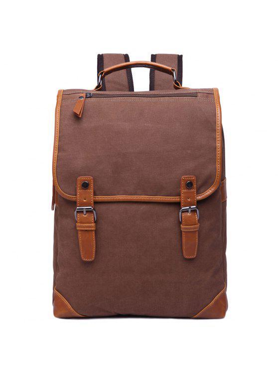 حقيبة الظهر كتلة اللون عصري للرجال - قهوة