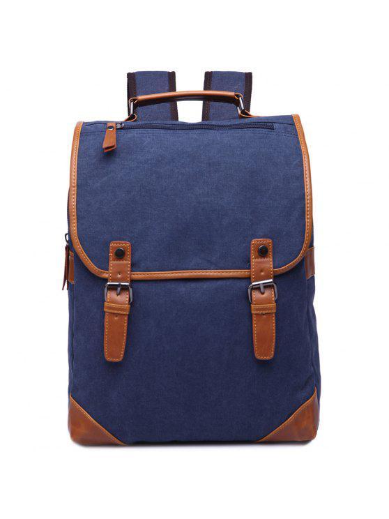 حقيبة الظهر كتلة اللون عصري للرجال - ازرق غامق