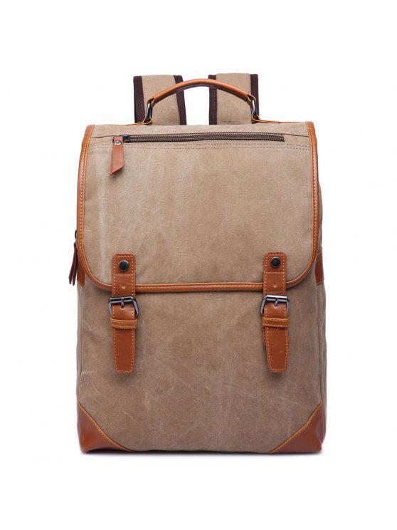 حقيبة الظهر كتلة اللون عصري للرجال - كاكي