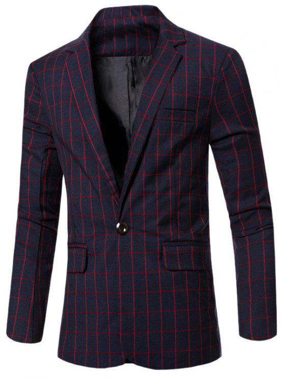 chic Casual Notched Lapel Collar Single Button Checked Blazer For Men - RED M