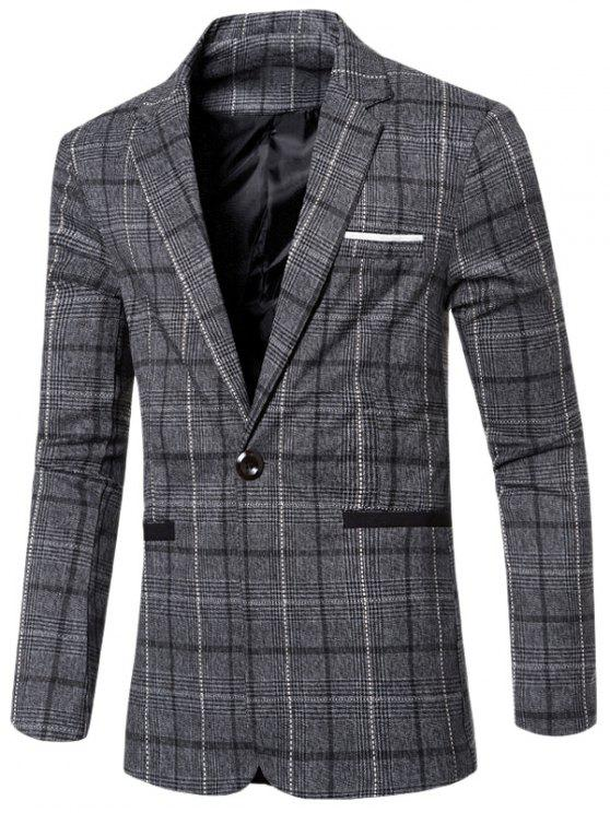 chic Vintage Notched Lapel Collar Single Button Slim Fit Striped Blazer For Men - GRAY L